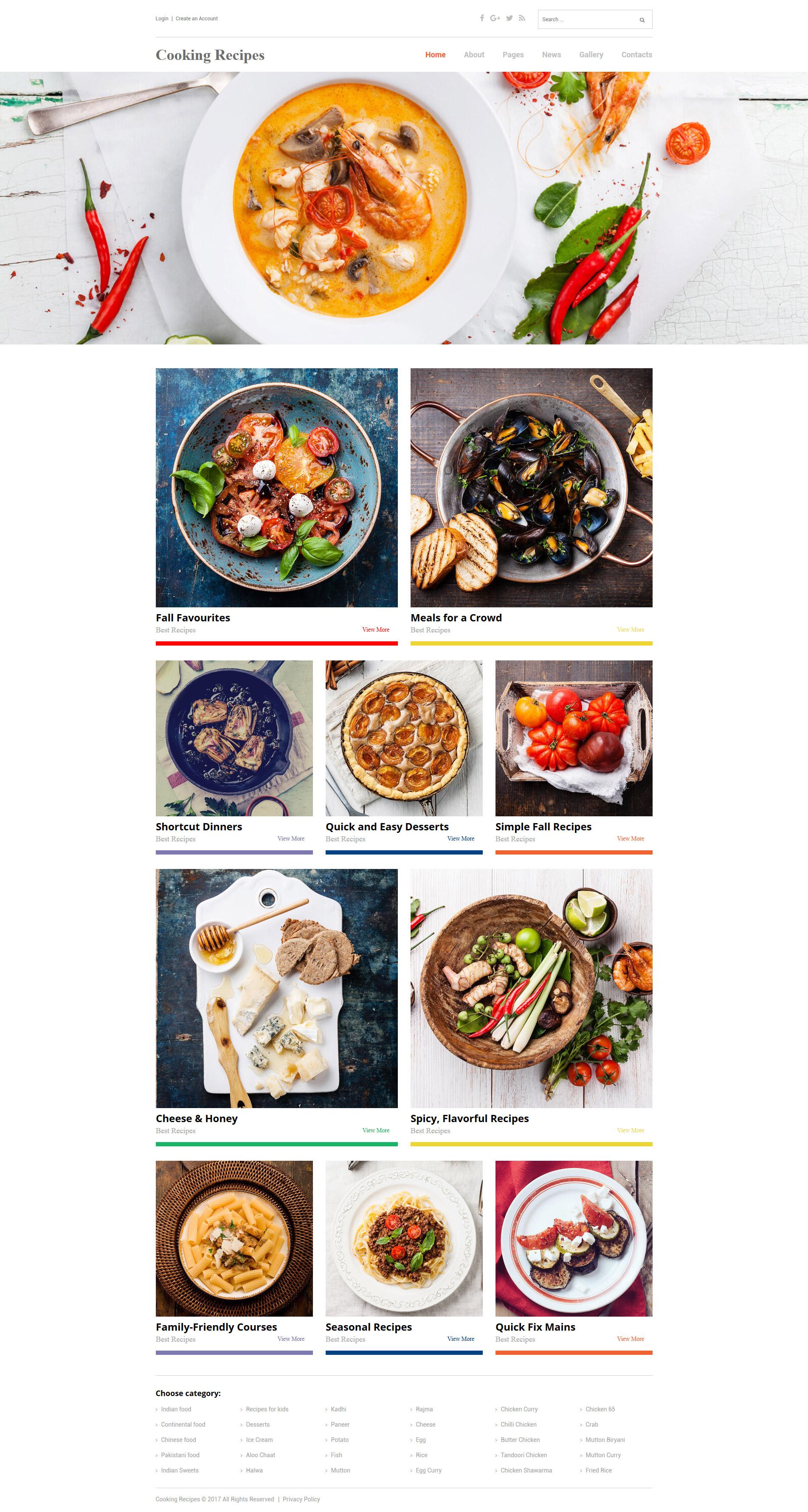 modello joomla responsive 62147 per un sito di cucina