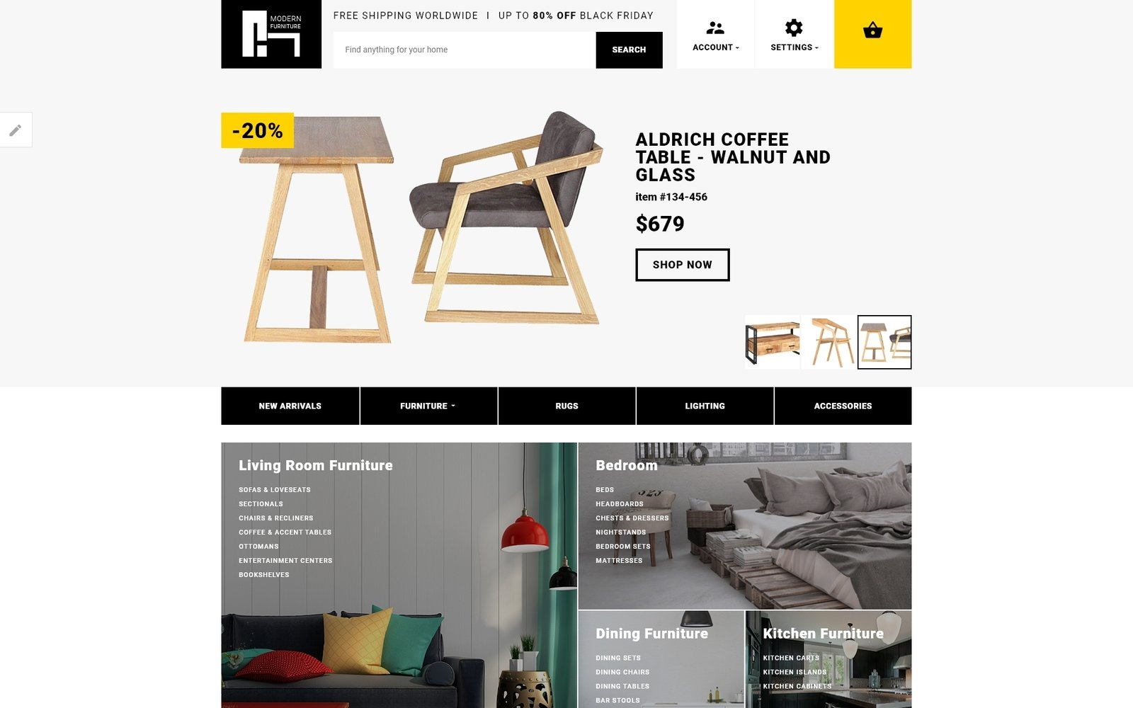 Modern Furniture - Interior & Home Decor Responsive Template OpenCart №62166