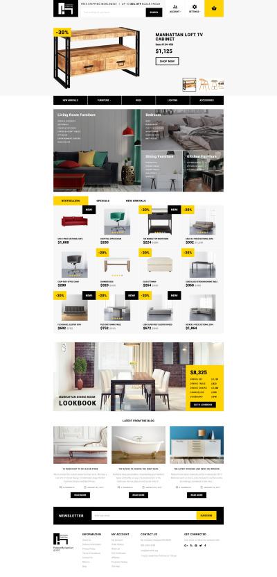 Адаптивный OpenCart шаблон №62166 на тему мебель