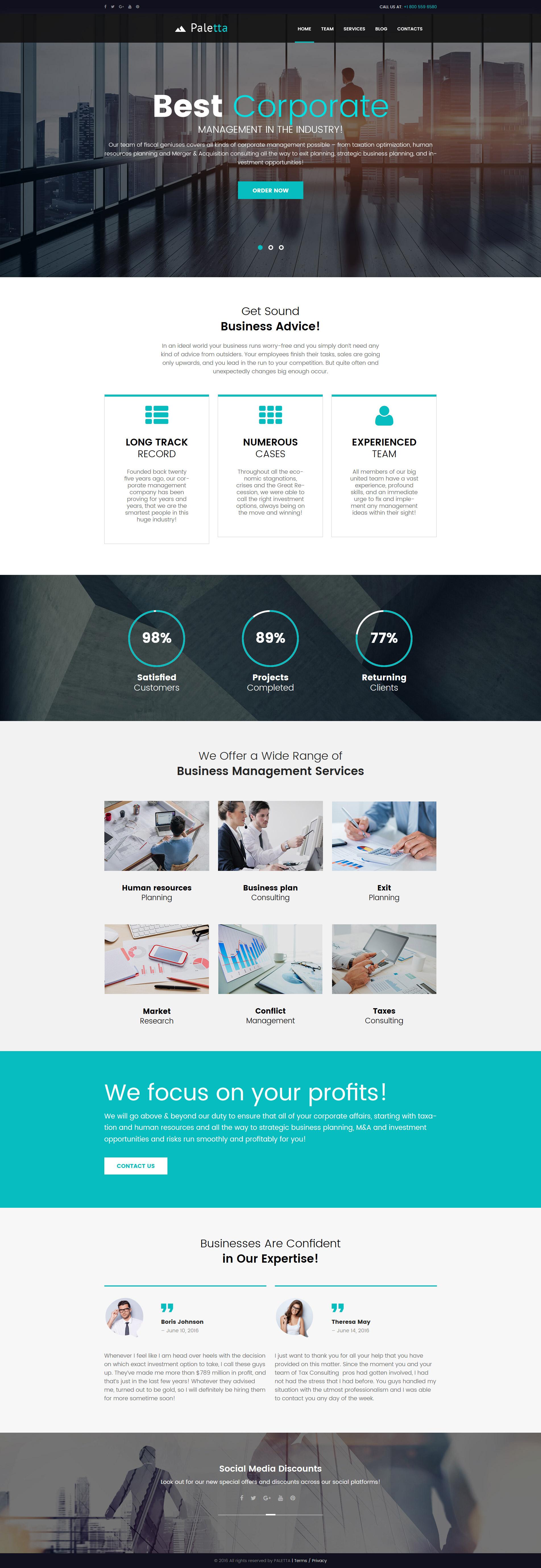 Paletta - Corporate & Business Tema WordPress №62119 - captura de tela