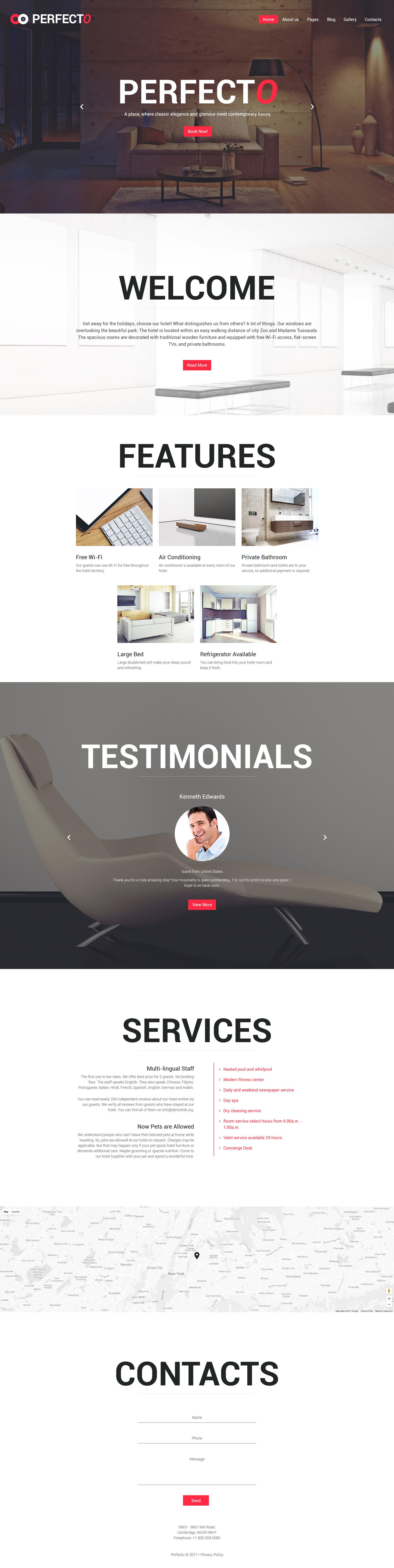 """""""Perfecto - Luxury Hotel Responsive"""" - адаптивний Joomla шаблон №62158"""