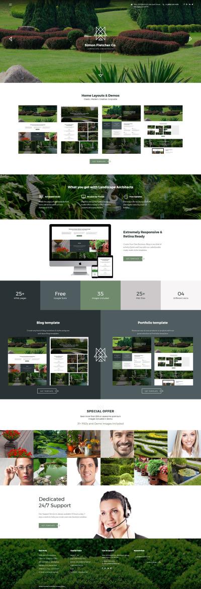 Plantilla Web para Sitio de Diseño de paisaje #62143