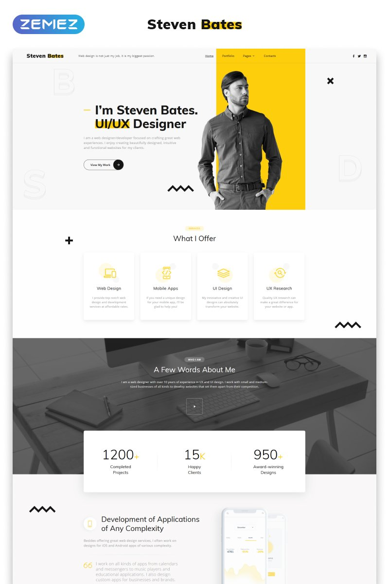"Plantilla Web ""Steven Bates - Personal Page Multipage Modern HTML"" #62124"