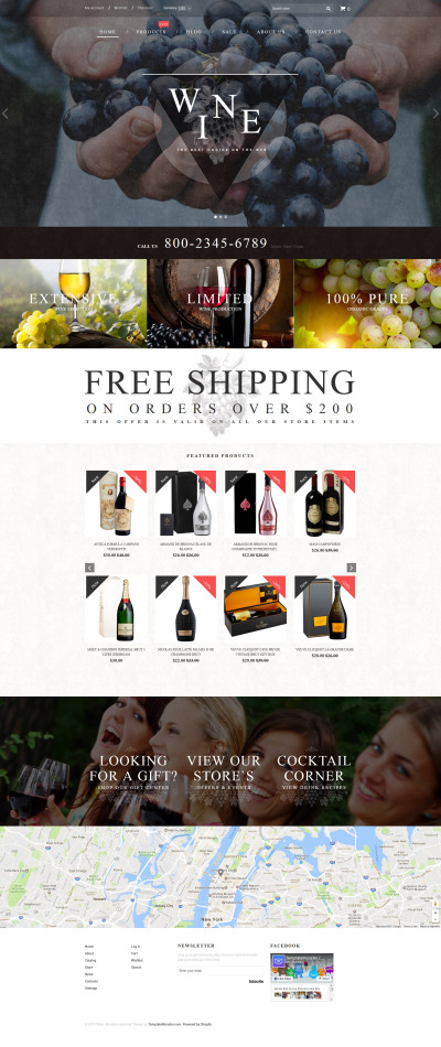 Responsives Shopify Theme für Wine