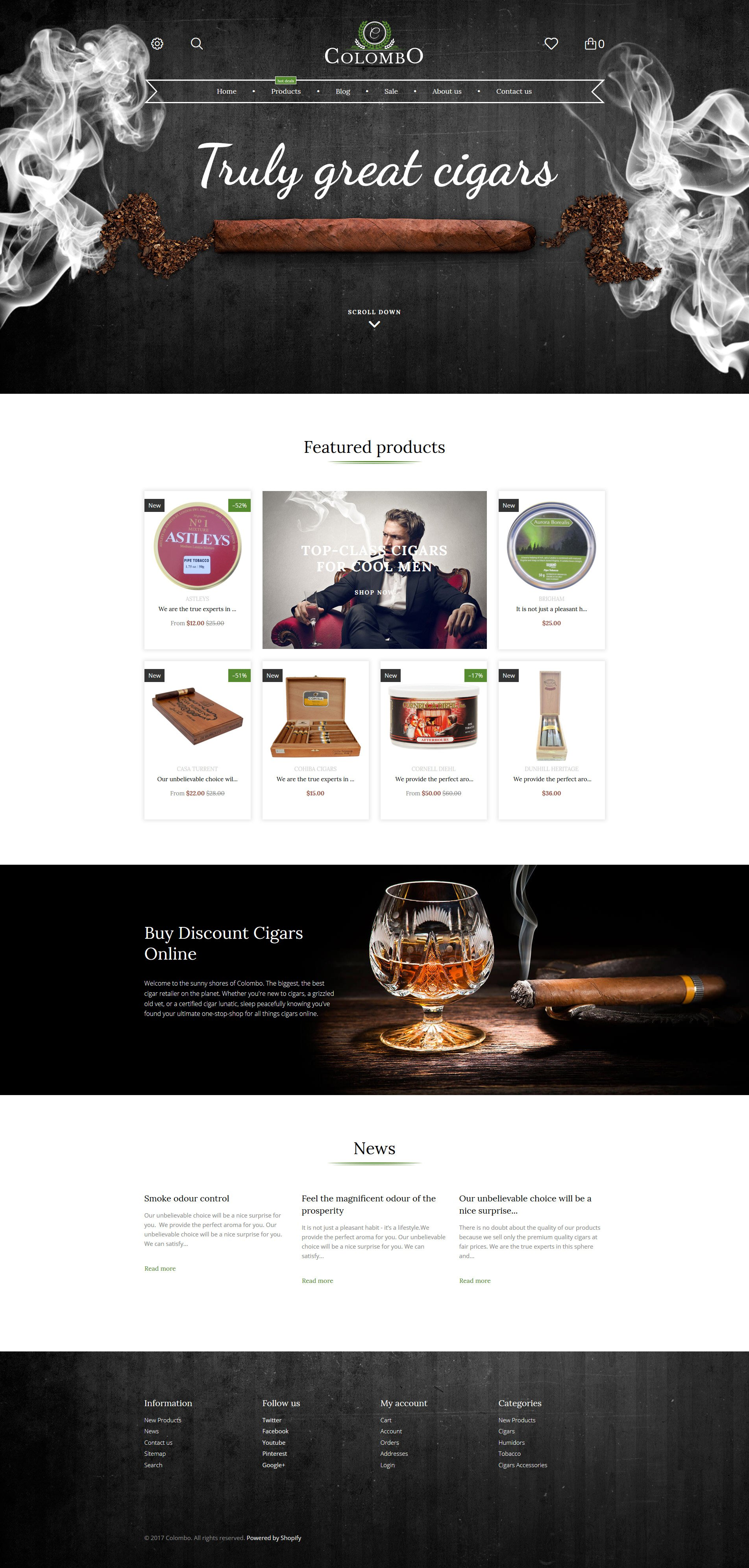 Responsivt Colombo - Tobacco Shopify-tema #62199