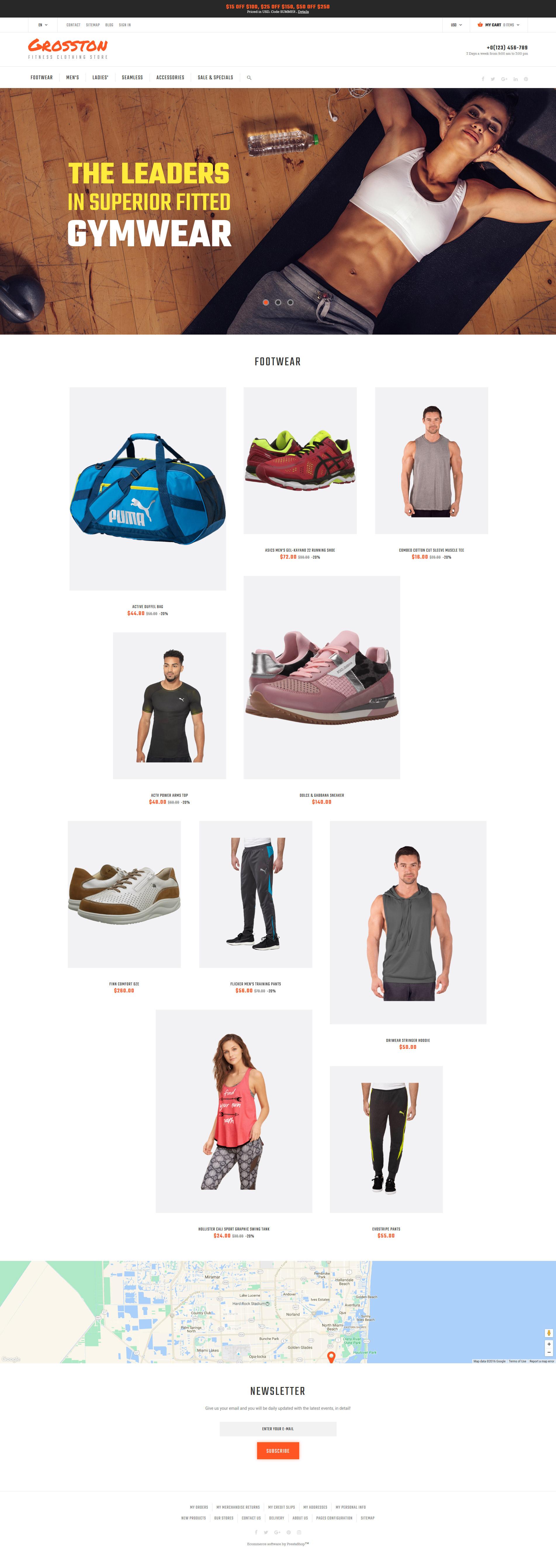 Responsivt Crosston - Fitness Clothing Store PrestaShop-tema #62139