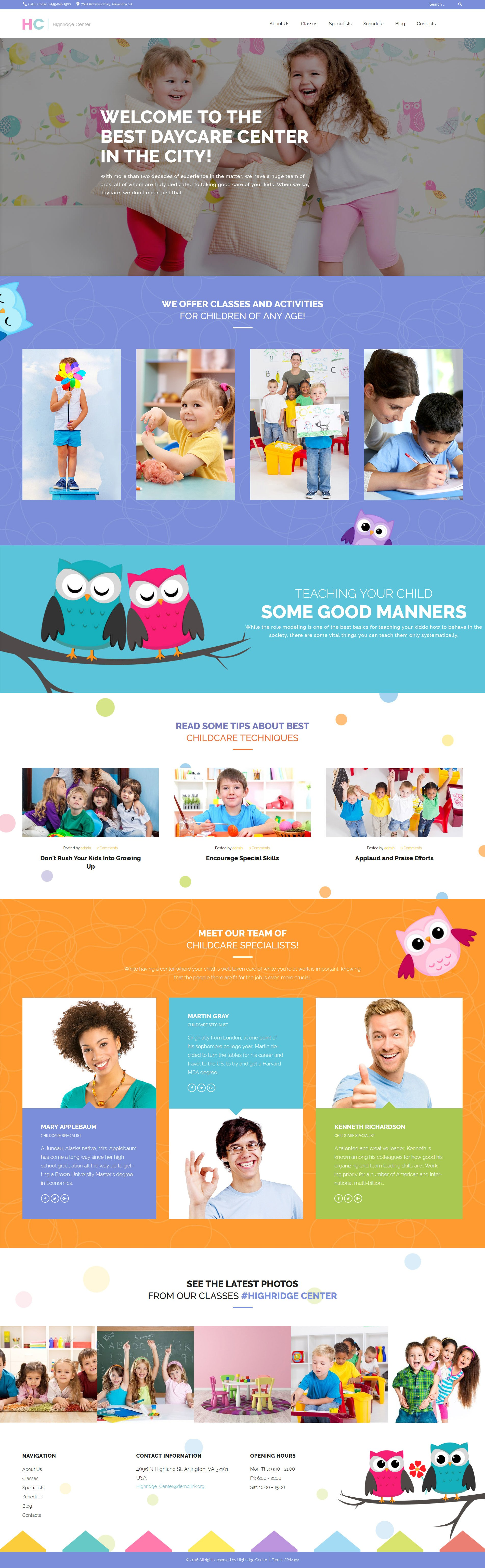 Responsywny motyw WordPress Highridge Center - Kindergarten & Child Care WordPress Theme #62115