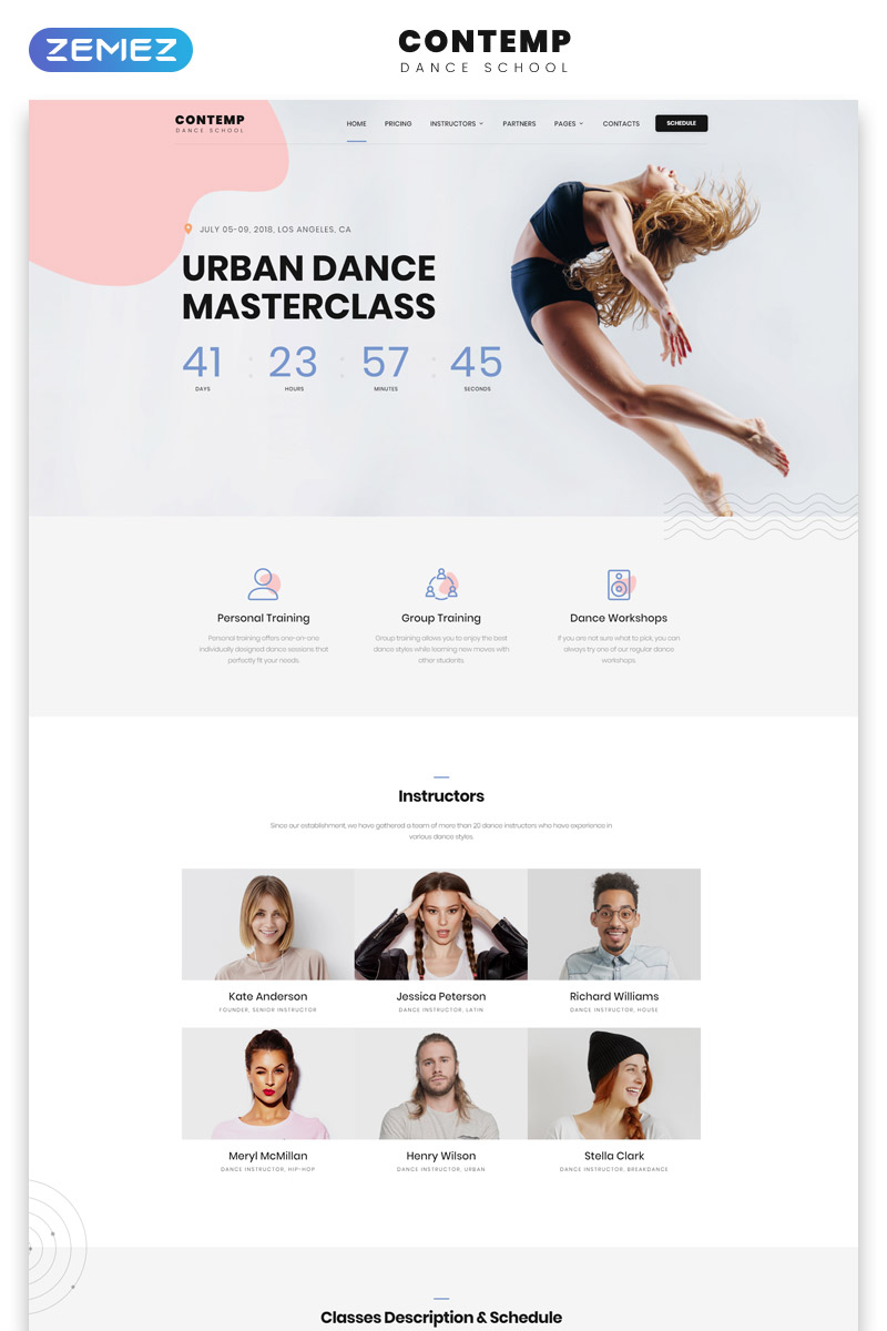 Responsywny szablon strony www Contemp - Dance School Multipage Creative Bootstrap HTML #62183 - zrzut ekranu
