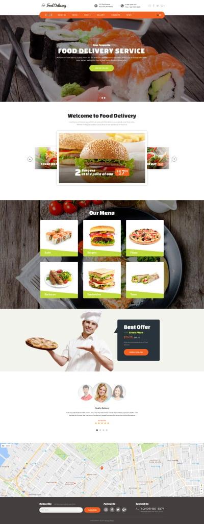 Fast Food Restaurant Responsive Šablona Webových Stránek