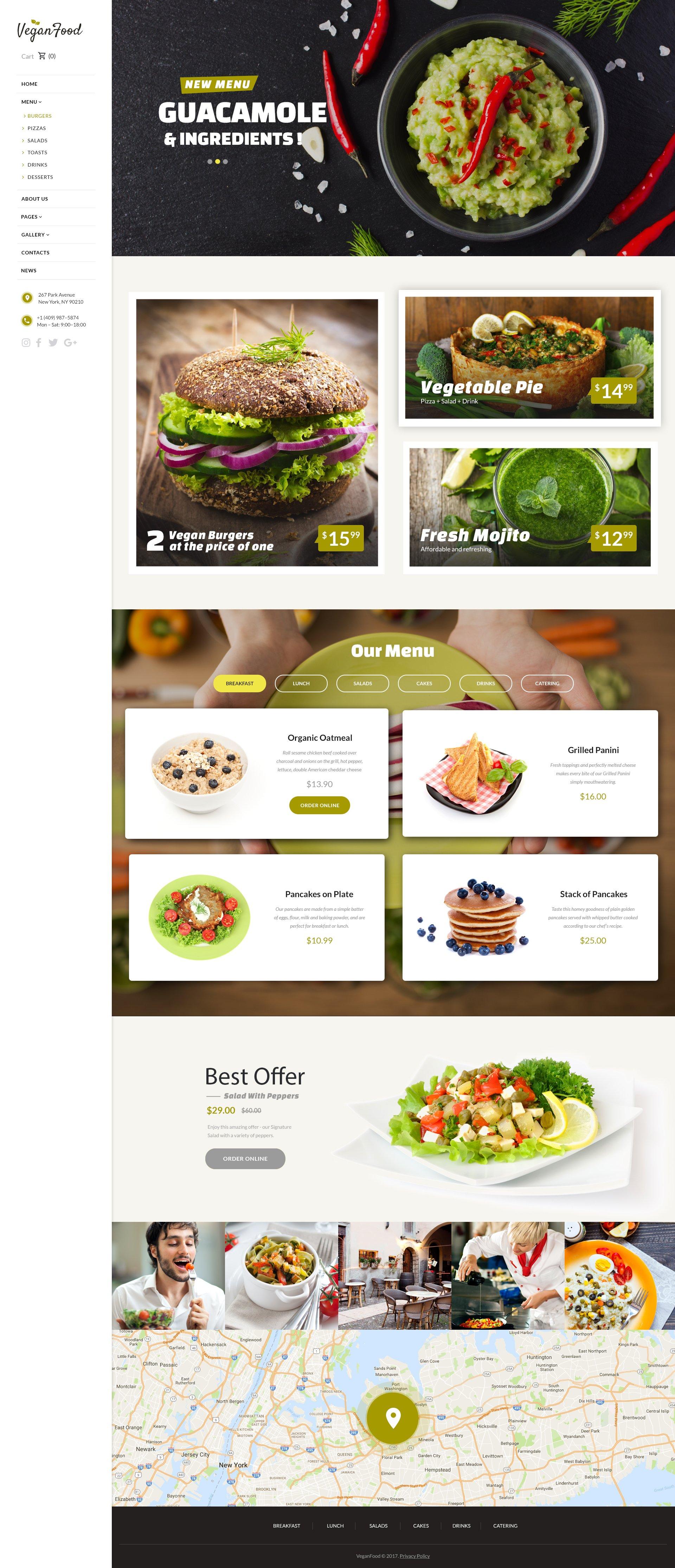 "Responzivní Šablona webových stránek ""Vegan Food - Vegetarian Restaurant Responsive"" #62171"