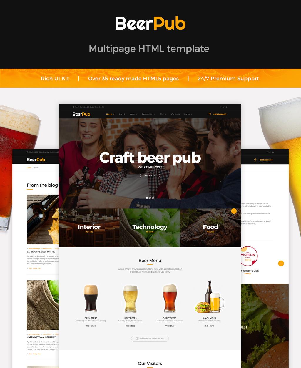 Reszponzív BeerPub - Food and Restaurant Multipage Weboldal sablon 62175