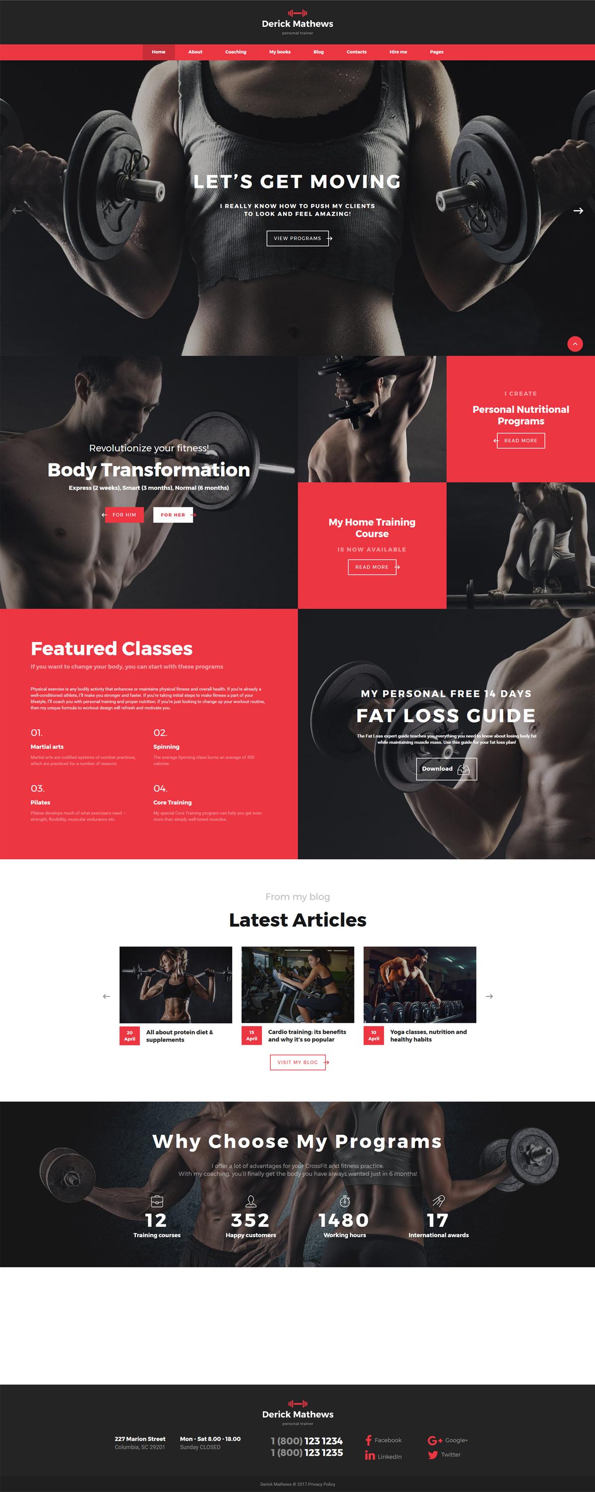 Reszponzív Derick Mathews - Personal Trainer Multipage Weboldal sablon 62181