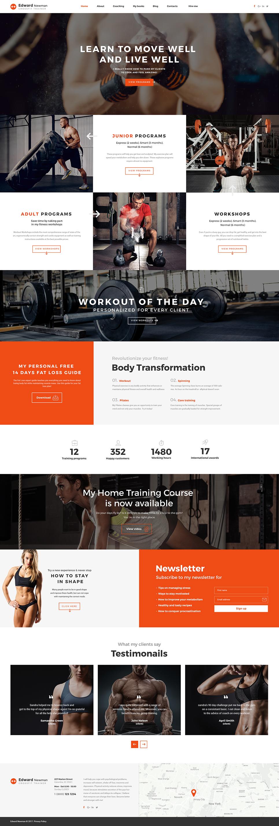 Reszponzív Edward Newman - Crossfit Trainer Multipage Weboldal sablon 62182