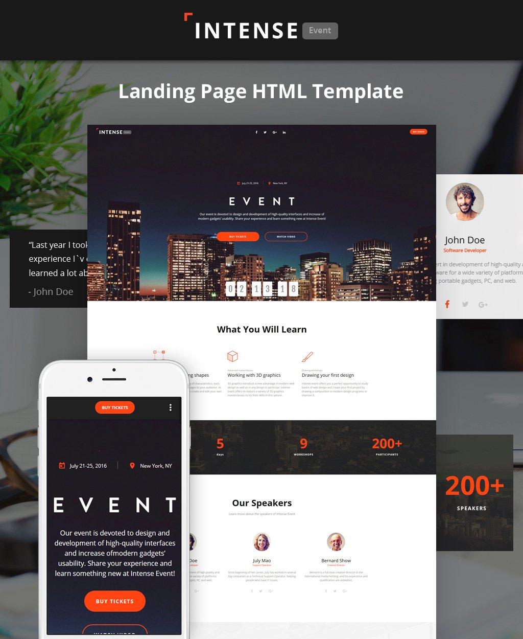 Reszponzív Intense - Event Planner HTML5 Nyítóoldal sablon 62198