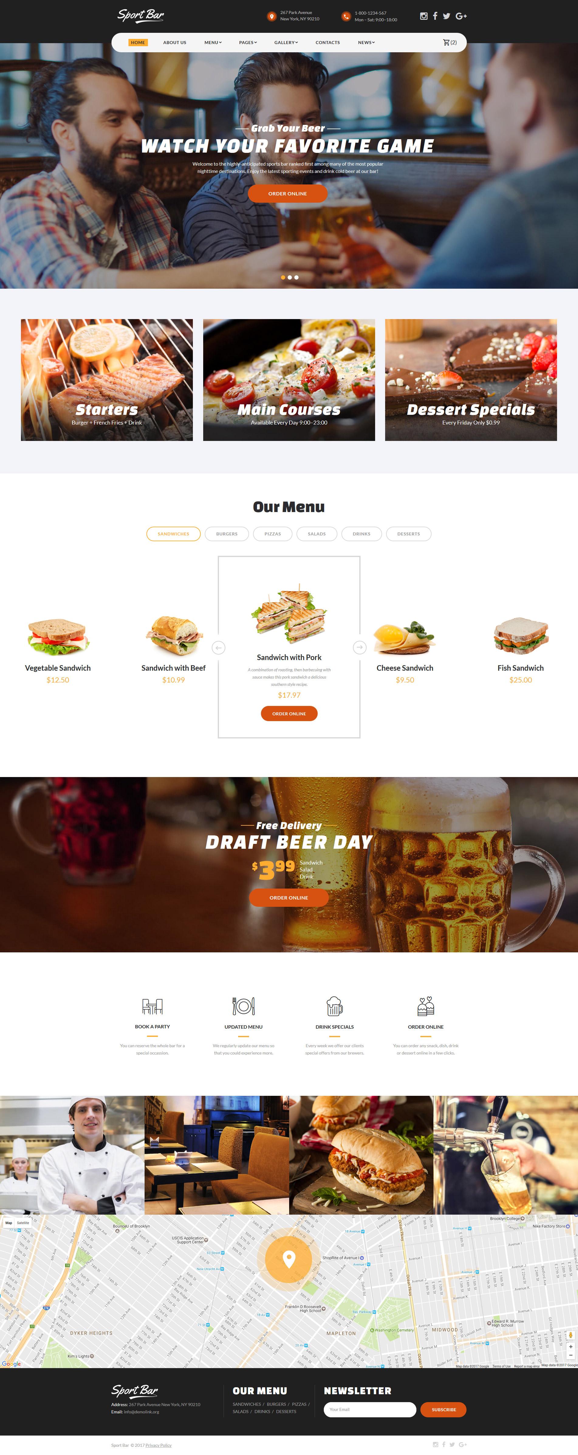 Reszponzív Sportbár és étterem Weboldal sablon 62173
