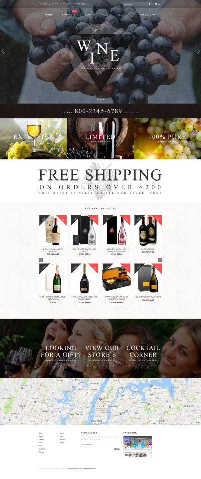 Responsives Shopify Theme für Wine