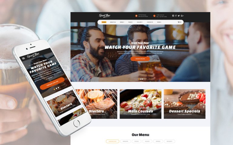 Sports Bar & Restaurant Multipage Website Template New Screenshots BIG
