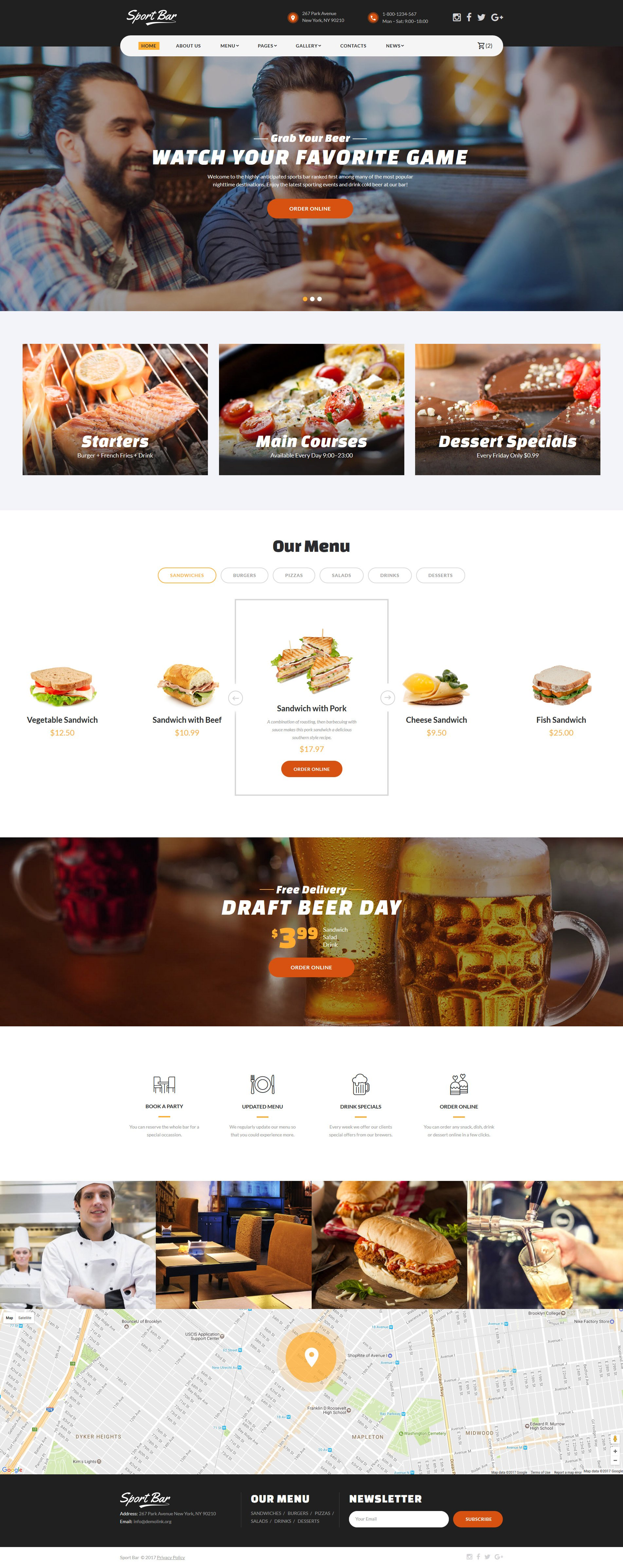 Sports Bar & Restaurant Multipage Website Template