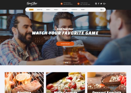 Multipage Sports Bar Bootstrap