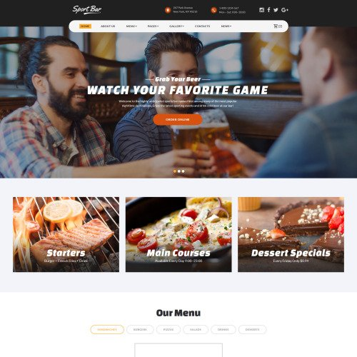 Sports Bar  - Website Template based on Bootstrap