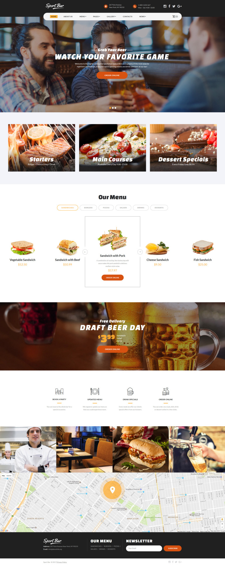 Sports Bar & Restaurant Multipage Website Template Big Screenshot