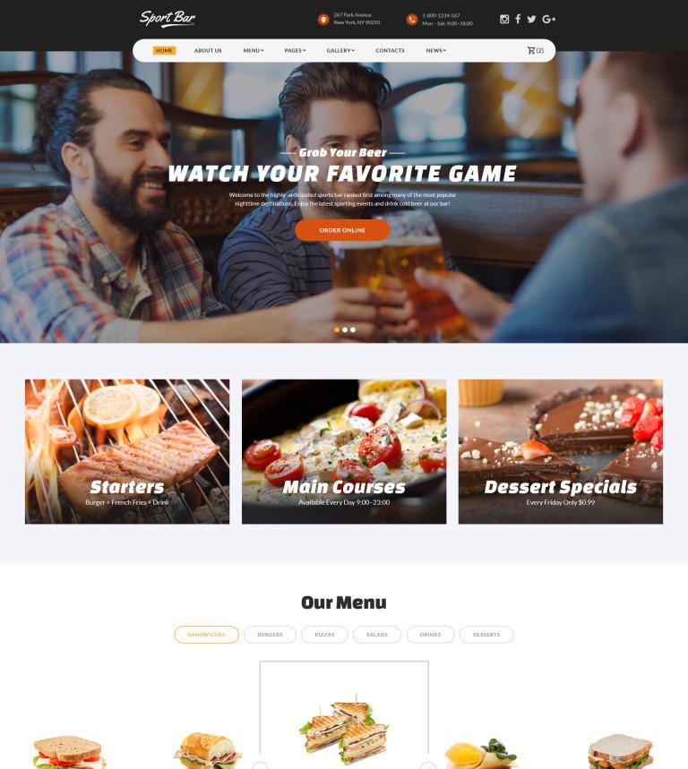 Sports Bar & Restaurant Multipage Website Template