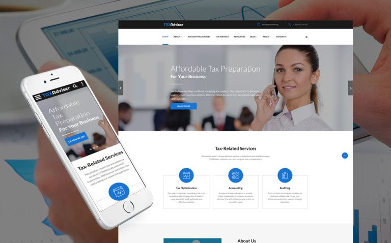 TaxAdviser - Accounting and Tax Services Company Responsive Multipage Website Template New Screenshots BIG