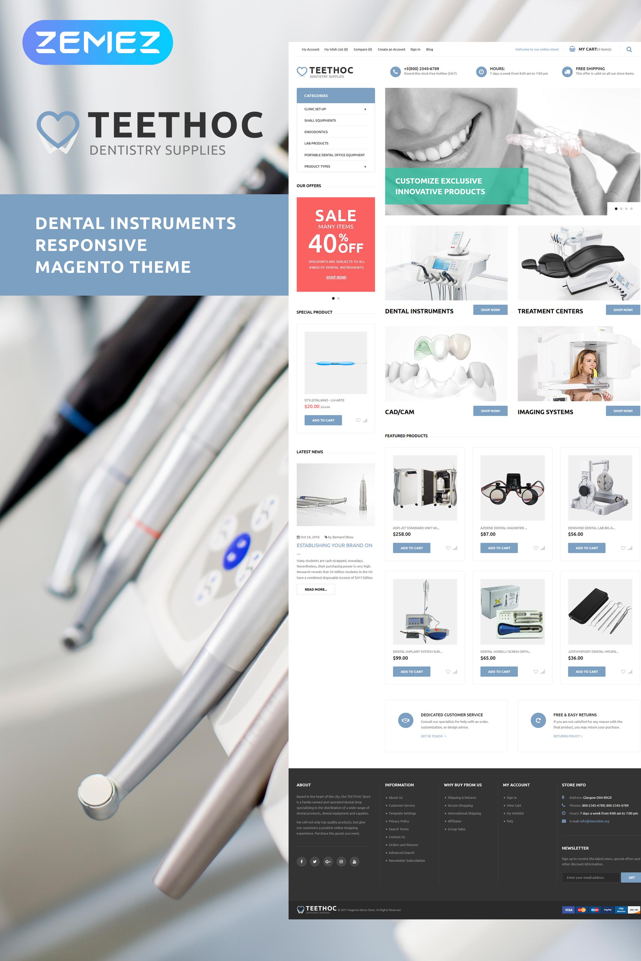 """Teethoc - Dental Instruments"" - адаптивний Magento шаблон №62105"