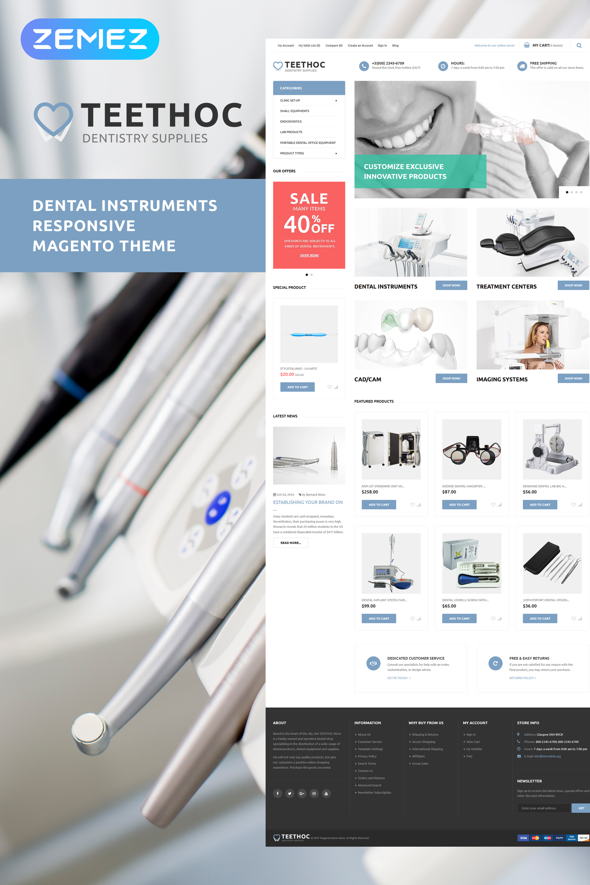 """Teethoc - Dental Instruments"" Responsive Magento Thema №62105"