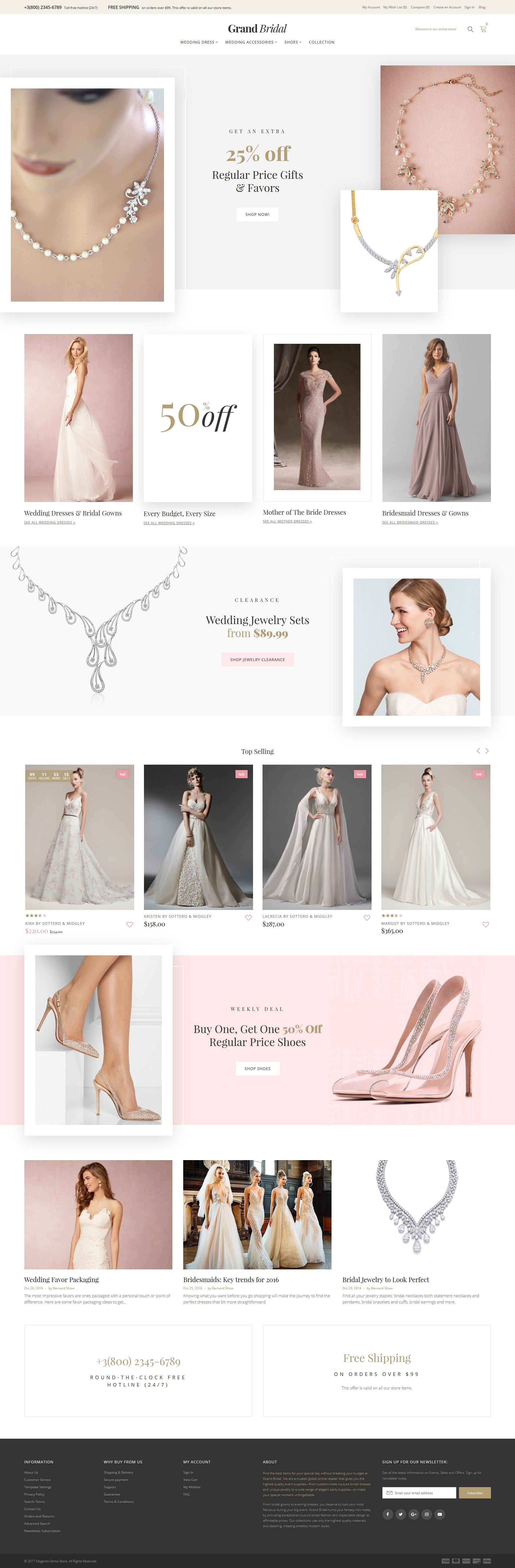 "Tema Magento ""Grand Bridal"" #62101"