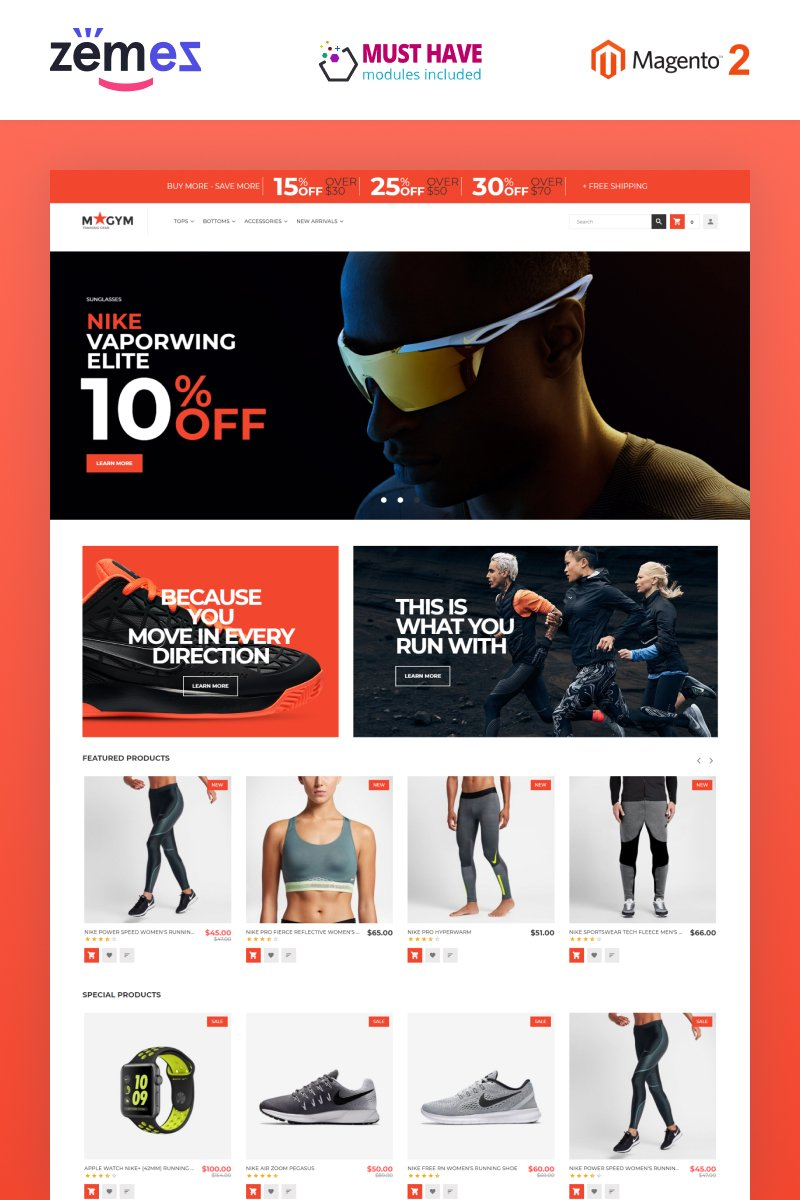 "Tema Magento Responsive #62103 ""MyGym - Sports Training Gear Store Theme"""