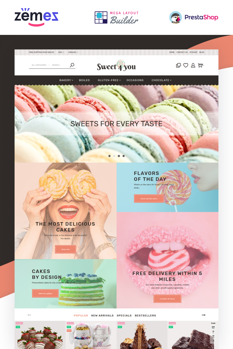 """Tema PrestaShop Responsive #62190 """"Sweet4you - Sweets Responsive Template for Candy and Cake Shops"""""""