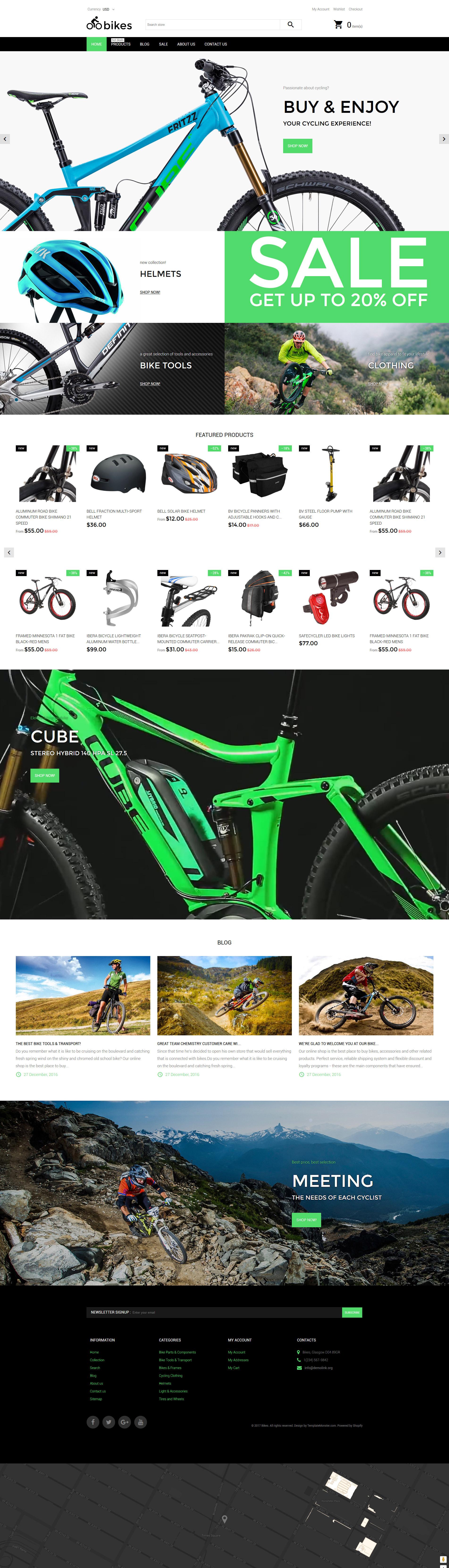 Tema Shopify Responsive para Sitio de Ciclismo #62167