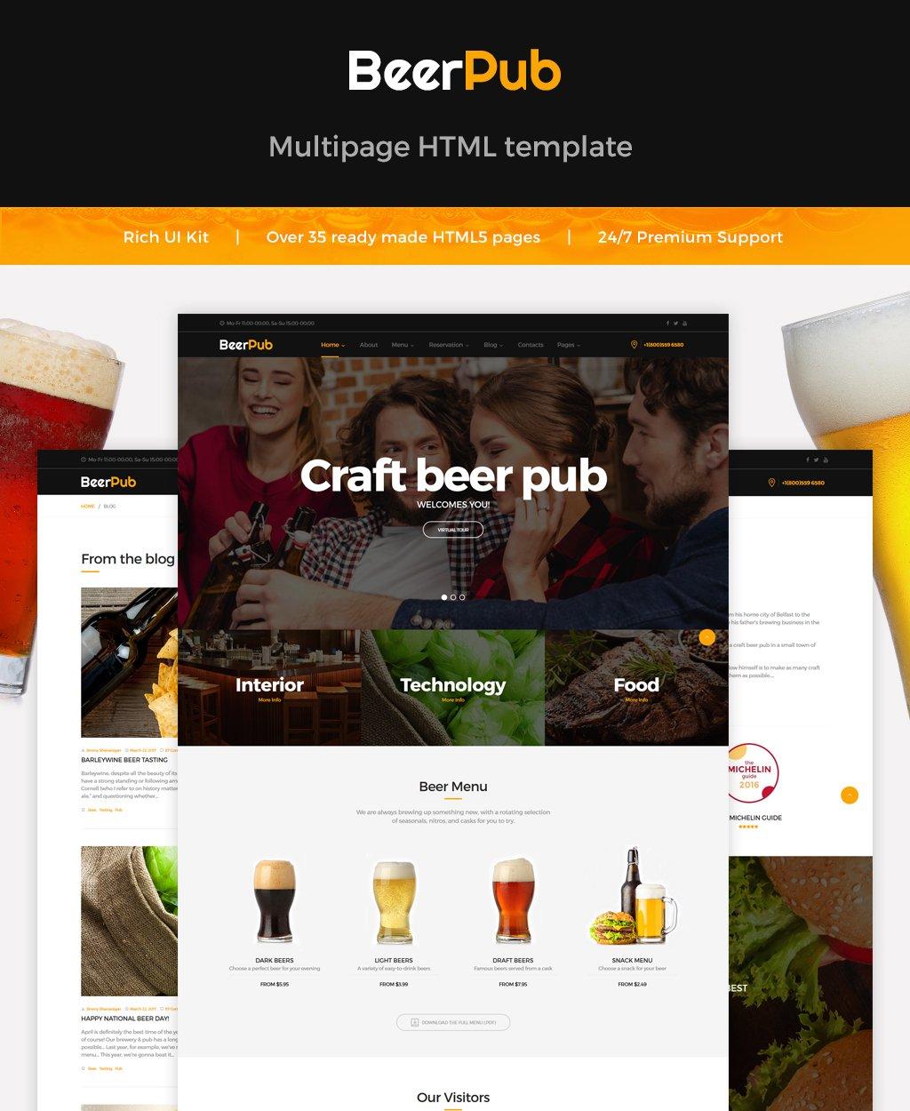 "Tema Siti Web Responsive #62175 ""BeerPub - Food and Restaurant Multipage"" - screenshot"