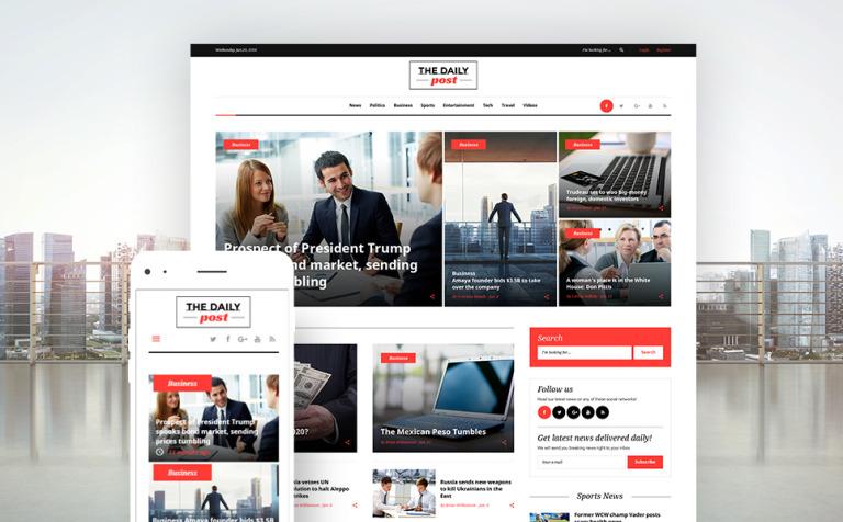 Tema WordPress Flexível para Sites de Portal de Noticias №62121