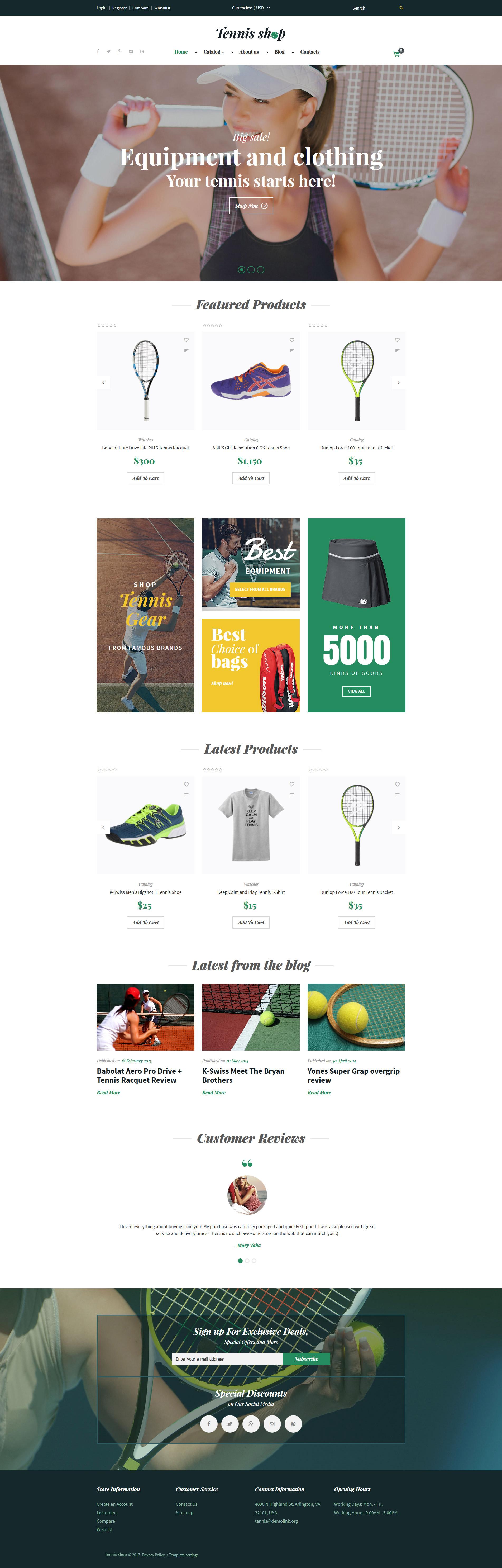 """""""Tennis Shop"""" VirtueMart Template №62141"""