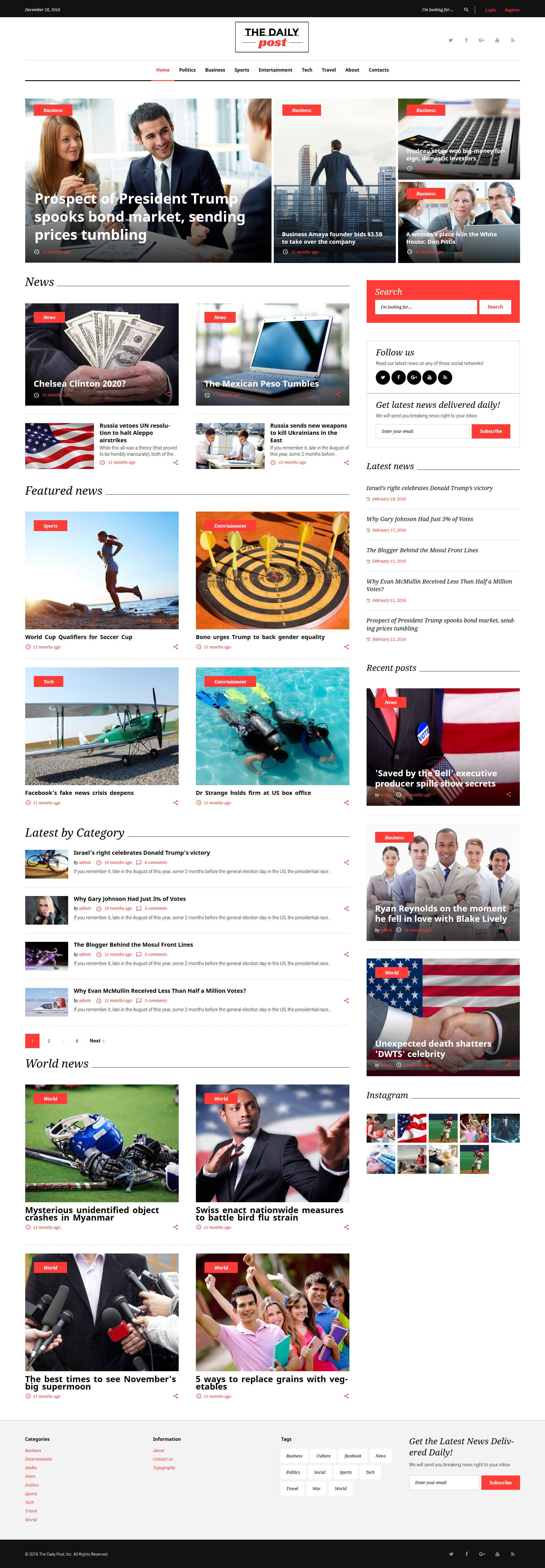 """The Daily Post - Media & Latest News"" 响应式WordPress模板 #62121"