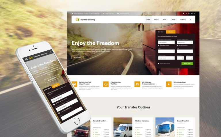 Airport Shuttle Services Bootstrap Template - Booking website template