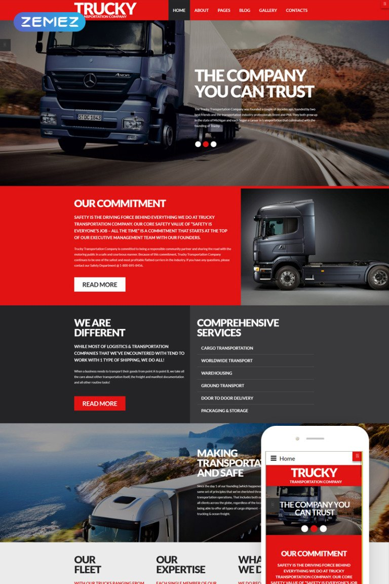 Trucky - Transportation Responsive Joomla Template New Screenshots BIG