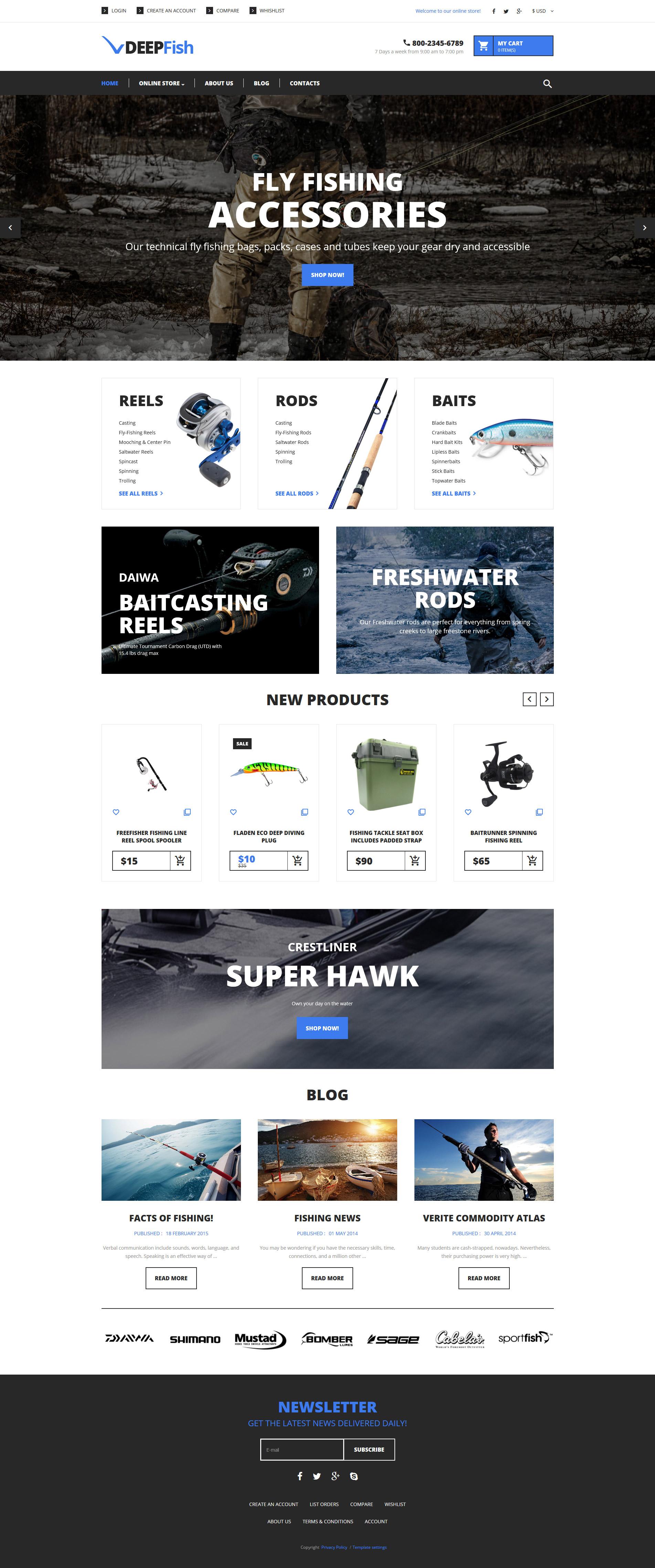 VirtueMart шаблон №62170 на тему рыбалка