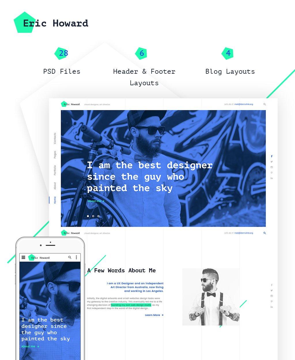 """Website Vorlage namens """"Eric Howard - Web Designer Portfolio Multipage"""" #62108 - Screenshot"""