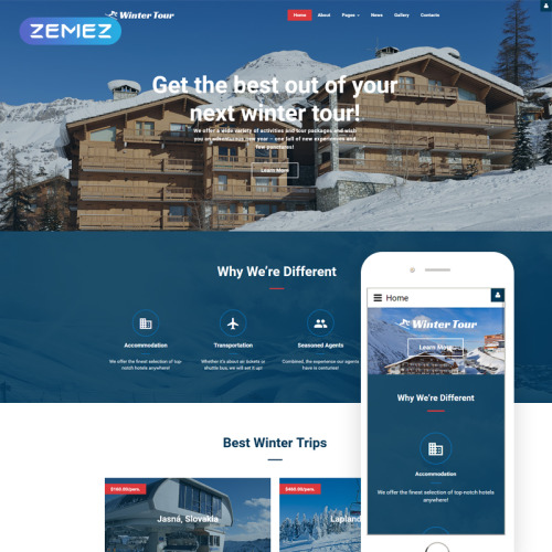 Winter Tour - Joomla! Template based on Bootstrap