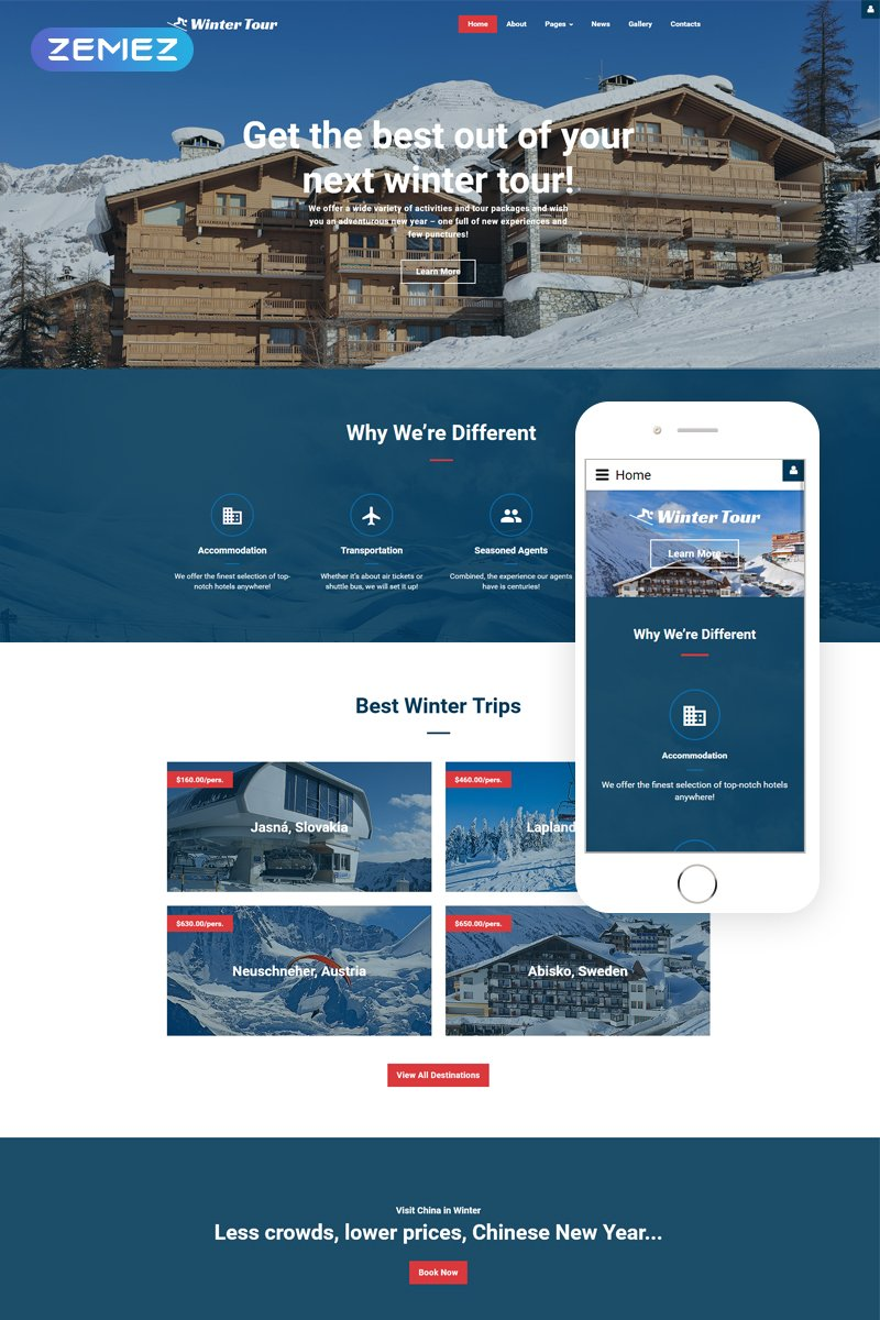 """Winter Tour - Travel Agency Responsive"" Responsive Joomla Template №62161"