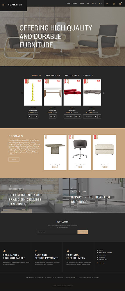 Custom Website Design Template #62223 -  sofar man sofa furniture profile company