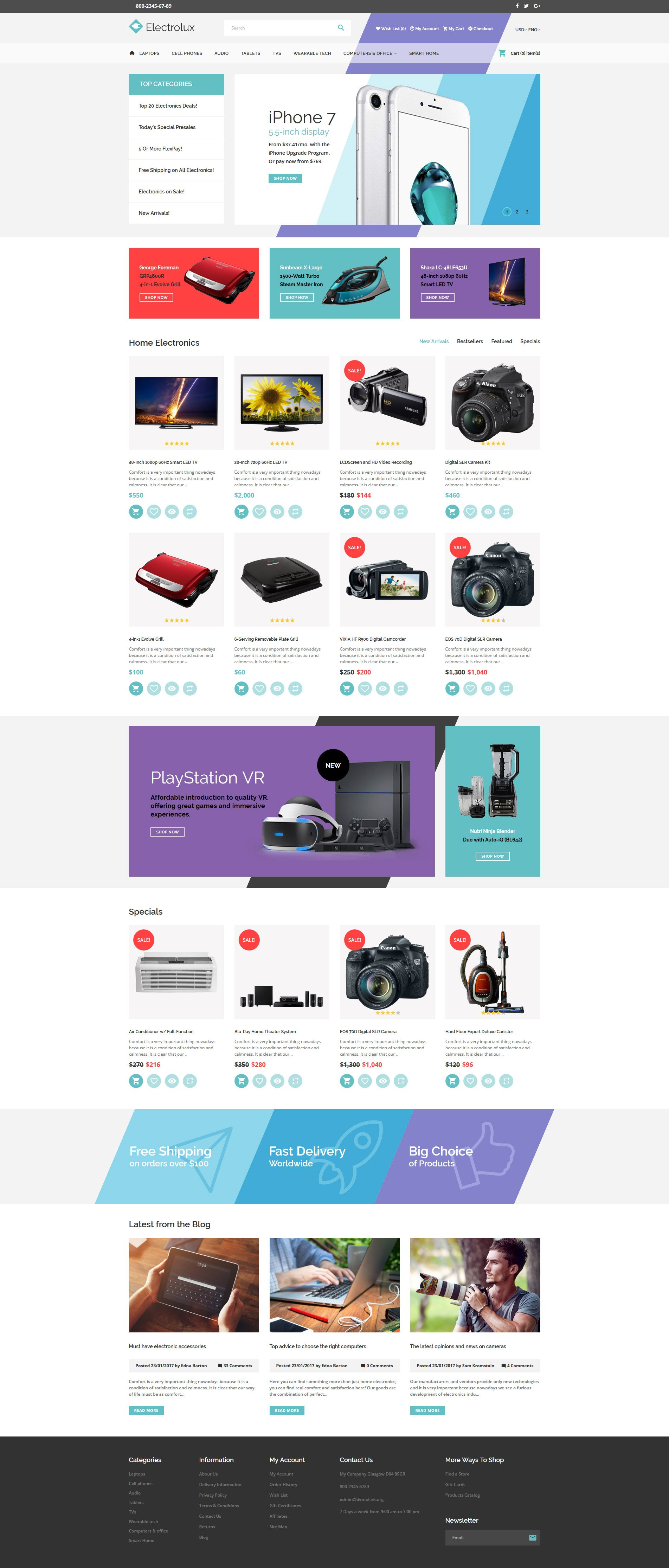 Website Design Template 62224 - electronics online shop delivery computer office staff printer notebook laptop shipment desktop portable scanner camera monitor cable system technology processor installation hardware input device memory server accessory wireless pc connection