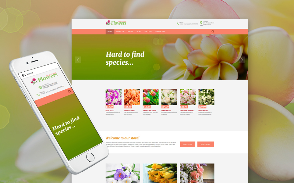 Plantilla para joomla - Categoría: Flores - versión para Desktop