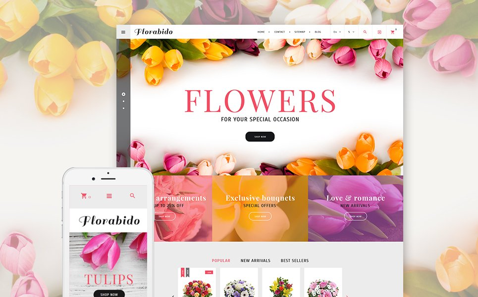 Website Design Template 62258 - lilies orchid chrysanthemum tulip order services packing present cards holiday celebration catalog delivery chamomile daisy bouquet wrapping