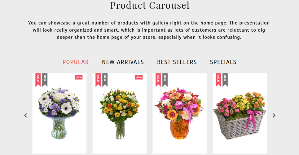 Website Design Template 62258 - cards holiday celebration catalog delivery chamomile daisy bouquet wrapping