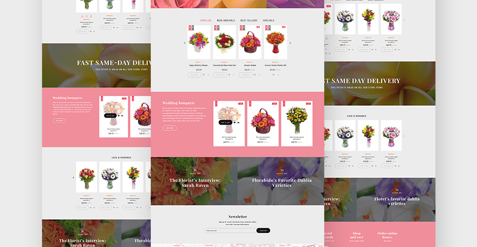 Website Design Template 62258 - bouquet wrapping