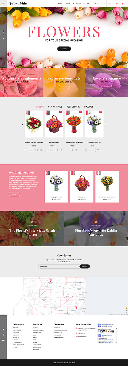 Custom Website Design Template #62258 -  florabido flower online shop store